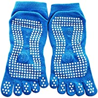 Panegy Unisex Non Slip Skid Yoga Pilates Full Toe Socks