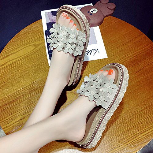 RUGAI-UE Donna pantofole comode scarpe da spiaggia piana di slittamento scarpe dello studente Beige