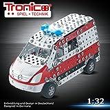 Tronico Metallbaukasten, Krankenwagen, Notarzt, 508 Teile, 1:32, Sirene und Blaulicht, Freilauf, 4-farbige Aufbauanleitung, mit Werkzeug, Mini Serie 1:32, ab 8 Jahren, rcee