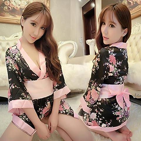 SesexxyLingerie sexy et sexy, kimono, un morceau, transparent, mince uniforme, pyjamas, taille,petites verges [80-100 Jin peut être porté],kimono Floral chaussettes net Thong