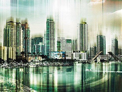 Artland Qualitätsbilder I Bild auf Leinwand Leinwandbilder Wandbilder 60 x 45 cm Städte Amerika Digitale Kunst Grün A8EX Florida und Key West USA Collage 03 (Key West Grün)