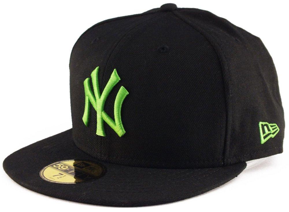 NEW ERA NY 59FIFTY TAPPO 1087766373/8, Black–Lime, 73/8
