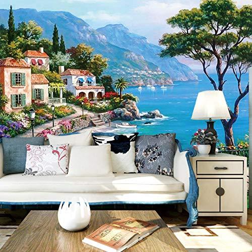 Fototapete Mediterrane Ölgemäldelandschaft Moderne Wanddeko Design Tapete Wandtapete Wand Dekoratio TV Hintergrundwand 300x210 cm