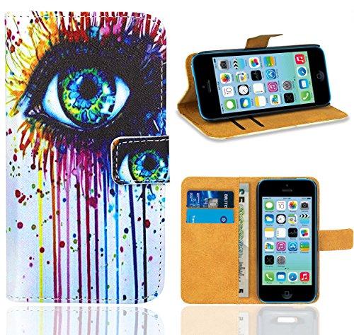iPhone 5C Housse Coque, FoneExpert Etui Housse Coque en Cuir Portefeuille Wallet Case Cover pour iPhone 5C Color 8