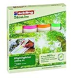 edding 24 Eco Line Textmarker - 4er Set - Je 1x Gelb, Orange, Rosa, Hellgrün - Neon-Highlighter zum Markieren und Hervorheben von Texten
