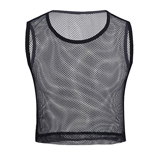 dPois Herren Ärmellos Crop Top Shirts Transparent Netz Hemd Männer Muskelshirt Tank Top T-Shirt Mesh Unterhemd Unteräwsche Nachtwäsche in Weiß, Schwarz Schwarz M