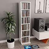 UnfadeMemory Estante Madera de CD DVD,Estante de Exhibición,6 Compartimentos Abiertos,Madera Aglomerada,21x16x88cm (Blanco Br