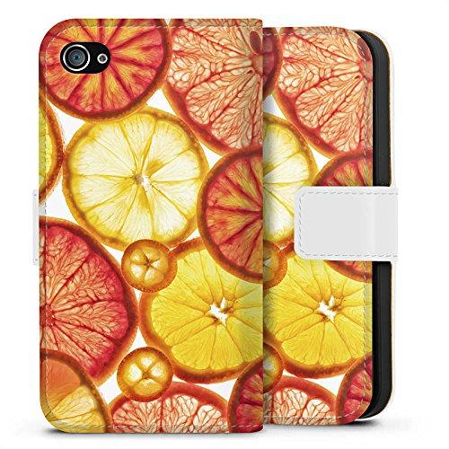 Apple iPhone X Silikon Hülle Case Schutzhülle Zitrone Orange Sommer Sideflip Tasche weiß