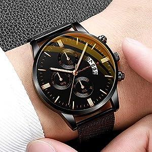 Herrenmode Sport Uhren Mesh Edelstahl Gehäuse Lederband Quarz Analog Armbanduhr