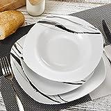 veweet 'Teresa Servizio da tavola in porcellana 18 pezzi | Piatto per 6 persone | Ognuno con 6 piatti da dessert, 6 piatti di zuppa e 6 piatti piatti