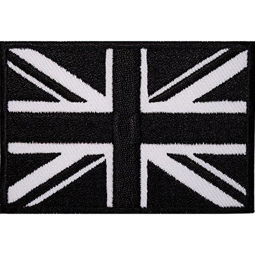 Schwarz Union Jack Stickerei Patch/Abzeichen Eisen auf oder aufnähen auf T-Shirt (Abzeichen Union Jack)