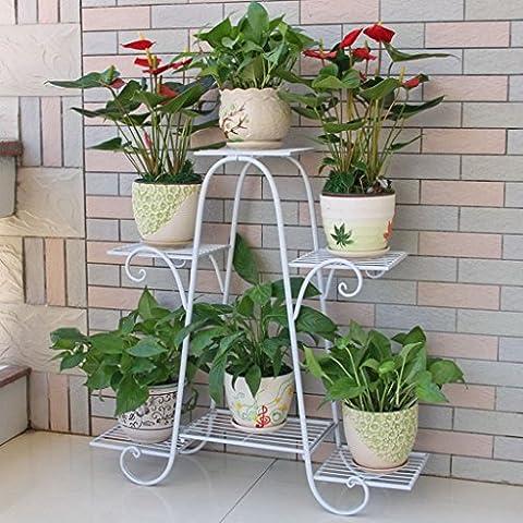 Im Freien Topfpflanzen Iron Flower Pot Rack, 3 abgestufte Pflanze Display Ständer Bonsai Halter Haus Garten Patio Dekor Regal hält schwarz / weiß ( Farbe : C , größe : 76*23*73CM )