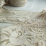 On Trend Fabrics - Encaje plano con borde festoneado,65mm de ancho, no elástico, se vende por metro, Crema envejecido, 65 mm