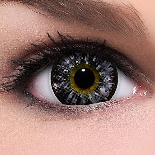 Linsenfinder Lenzera Circle Lenses lila 'Nudy Violet' ohne Stärke + Kombilösung + Behälter Big Eyes 15mm farbige Kontaktlinsen
