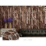 Papel pintado PVC retro estilo 3D imitación madera textura papel pintado decoración salón restaurante TV pared habitación café tienda de ropa papel tapiz 53 cm * 1000 cm , dark brown