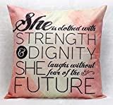 DSL&HXY Inspirational Quotes Bible Verse Pillow Case Cushion Cover for Sofa Couch Home Decoration Pillows Decorative Christian Pillowcase 18x18