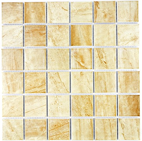 Mosaic Mirror Tile Ceramic Travertine Beige Matte for Wall Bathroom Toilet Shower Kitchen Counter Trim Bath Panel Mosaic Mat Mosaic Tabletop