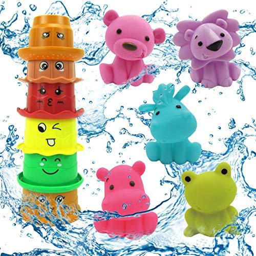 Badespielzeug Set Für Babys, CHshe 11Pcs Kinder Bade Spielzeug Süße Tiere Indoor Outdoor Strand Spaß Badewanne Spaß Spielzeug Badewannenspielzeug Mit 7 Stackable Nesting Cups (Bauen Sie Einen Desktop-computer)