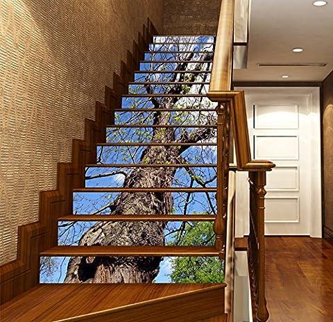 3D Zweige Baum Der Himmel 6433 Stair Risers Dekoration Fototapete Vinyl Aufkleber Tapete DE Lemon (13x H:18cm x W:94cm (7