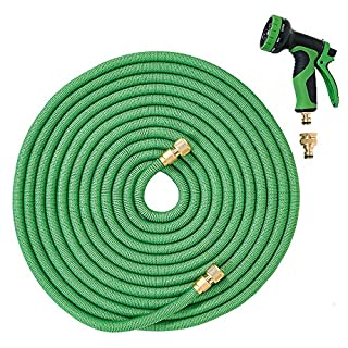 ANSIO Garden Hose Pipe 100 Ft with Brass Connectors, Polyester Fabric Outer Layer & 9 Function Spray, Expandable Flexible Anti-Kink Hose for Home, Garden, Car/Bike Wash - 1 Year Replacement Warranty