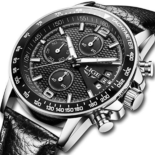 Hombre Relojes Cuarzo Analógico Hombres Marca de Lujo LIGE Cronógrafo Militar reloj de pulsera Moderno Impermeable Hombre Reloj Cuero Negro
