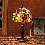 Gweat 8 pulgadas Pastoral girasol vitral Tiffany Lámpara de mesa de dormitorio de la lámpara de cabecera de la lámpara Modelo A