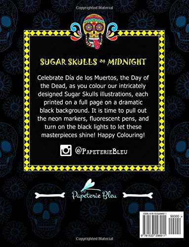 Sugar Skulls At Midnight: An Adult Colouring Book: Midnight Edition: A Unique Black Background Paper Antistress Colouring Gift for Men, Women. Relief, Mindful Meditation & Relaxation - Bild 2