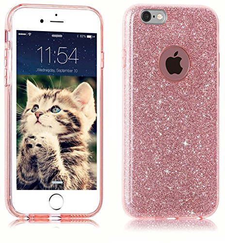 iPhone SE Coque,iPhone 5 5S Coque, uiano® Sparkling Prime [3 en 1 couches Protection] Hybrid Glitter Bling TPU Housse pour téléphone iPhone SE 5 5S (Rose Gold)