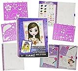 Unbekannt 1 Stück - XL - A4 Malbuch / Malblock incl. Name - mit Schablonen + Vorlagen - Malbücher Skizzenbuch Mädchen - Girls Bekleidung - Mode Design - für Kinder - Mo..