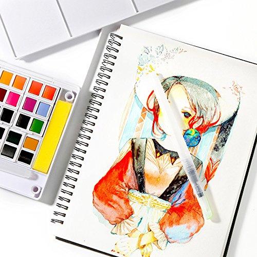 ENFANTS aquarelle Palette de Pigment 48 couleurs solide avec séparé et deux Eau Stylo peinture Brosse