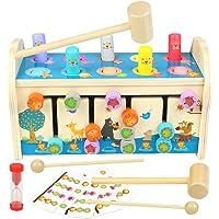 jerryvon Jouet Enfant en Bois Jeux Montessori Banc à Marteler 3 en 1 Marteau Jouet en Bois Xylophone Bebe Cube D…
