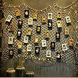 jahrgang jute foto hängen display mit 30 kraft papier frame mit hölzernen clips - jute fischernetz wand dekor - bilderrahmen und druckt foto - organisator und collage - dekorativen kunstwerke - wohnheim - zimmer weihnachtsschmuck