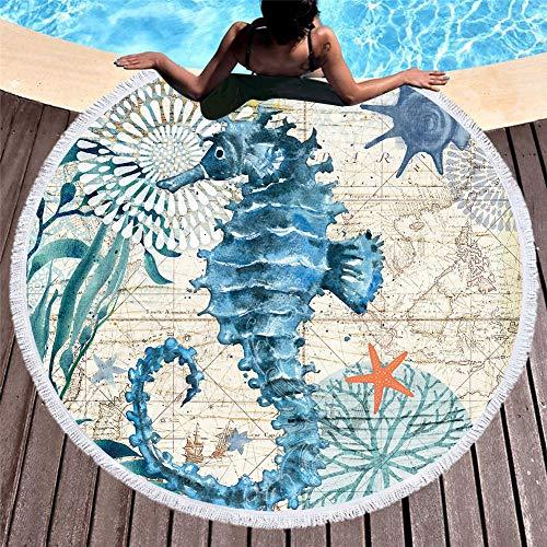 SUYUN Rundes bedrucktes Strandtuchkissen schnell trocknend -3 150 * 150cm