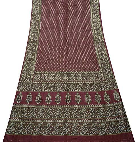 Sari Aus Reiner Seide (PEEGLI Indische Frauen Saree Rot Paisley Kleid Aus Reiner Seide Vintage Ethnische Lässig Sari DIY Handwerk Stoff 5 Yard)