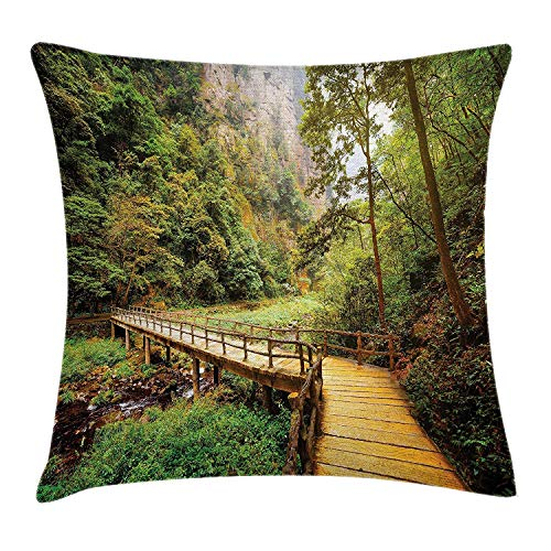 Azfaiop Landscape Throw Pillow Cushion Cover, Wooden Bridge Over Mountain River Trees Rocks in Zhangjiajie Forest Park, Decorative Square Accent Pillow Case,Inches, Green and Brown 16x16 inch