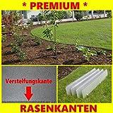 Rasenkante mit verstärkter Bodeneindringkante + Klick-System + doppelter Korrosionsschutz + schmal 14 cm hoch 10 Meter