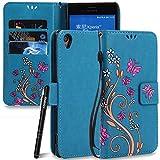 Slynmax Coque Sony Xperia XA,Sony Xperia XA Coque, Fleurs Portefeuille Pochette de...