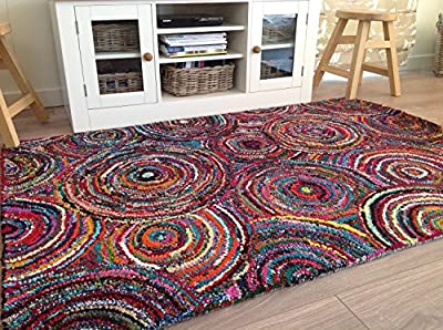 Thick Tufted 90cm x 150cm Spirals Circle Rug with Backing - cheap UK light store.