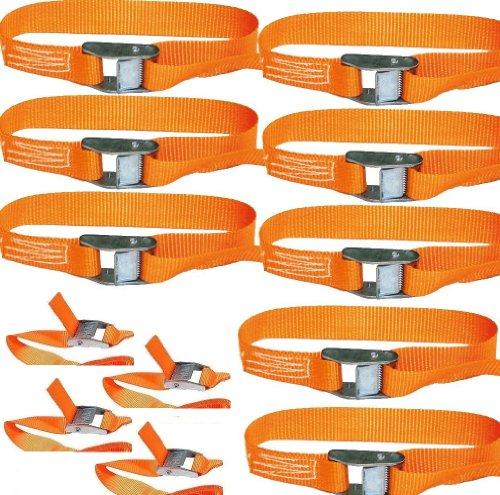 18x Spanngurte Klemmschloss Befestigungsriemen Spanngurt mit Schnellverschluss 2.5m 100/200kg EN Norm Farbe: orange , iapyx®