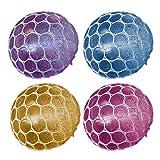 Beetest® - 4 PZ Squishy Mesh Stress Balls Anti-Stress Rilascio Decompressione Giocattolo per Bambini Adulti Squishy Spremere Allevia lo Stress Ansia Gomma Sensoriale Giocattoli Palla Regalo