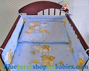 Blue 150 x 120 cm BlueberryShop Baby Cot Duvet and Pillow Covers Bedding Set