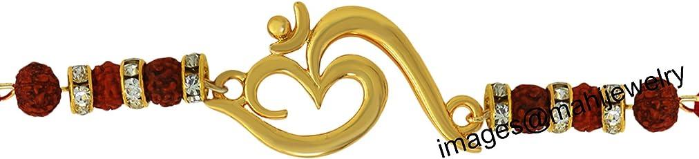 Mahi Gold Plated OM with Rudraksha Rakhi for Rakshabandhan BR1100546G