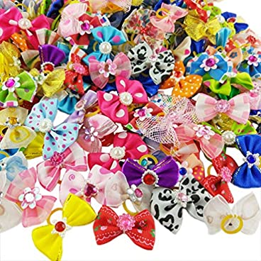 nuosen 50PCS Dog Hair Bows,Pet Hair Bows Tie Puppy Rubber Bands Hair Grooming Accessories