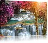 Schöner Wasserfall im Regenwald, Format: 120x80 auf Leinwand, XXL riesige Bilder fertig gerahmt mit Keilrahmen, Kunstdruck auf Wandbild mit Rahmen, günstiger als Gemälde oder Ölbild, kein Poster oder Plakat