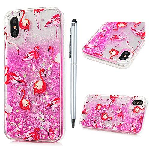 Badalink Hülle für iPhone X Gehender Flamingo Treibsand Cover TPU Rahmen + PC Bottom Schlanke Buntes Handyhülle Schutzhülle Silikon Schutz Tasche Kratzresistente Schale mit Schick Eingabestifte Gehender Flamingo