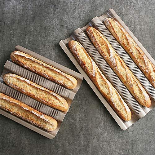 Baguette Backblech gelocht, Französisch-Stick Loaf Backformen Pan 3 Baguettes Perforierte Baguette Backblech Non Stick Französisch-Stick Backformen Pan,Gold,2Pcs