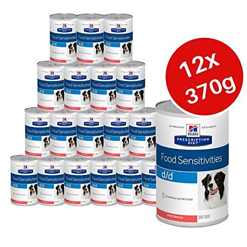 HILL'S PRESCRIPTION DIET Hills Prescription Diet Canine d/d Food Empfindlichkeiten, Canned Hundefutter 370g-Lachs (12Stück) -