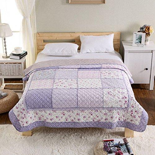 Alicemall Colcha Patchwork de Algodón Colchas de Cama 150x200cm Estampado Rosa Púrpura...