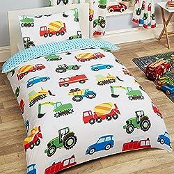 Camiones y transporte 2piezas UK Junior/US Toddler Juego de sábanas, hoja de doble cara, 1x y 1x funda de almohada