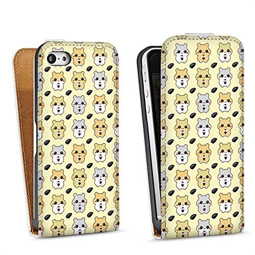 Apple iPhone 5 Housse Outdoor Étui militaire Coque Hamster Kawaii Sucré Sac Downflip blanc
